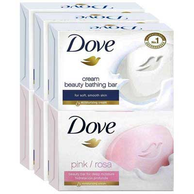 cream beauty and pink rosa bathing bar dove original